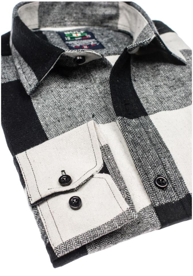 ... Чорна чоловіча фланелева сорочка з довгим рукавом Bolf 801 ... 17a3c15909972