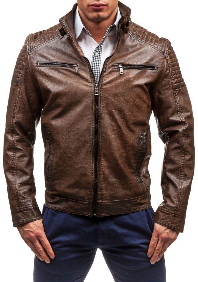 Коричнева шкіряна чоловіча куртка Bolf 1773A КОРИЧНЕВИЙ 55ae24e0b1357