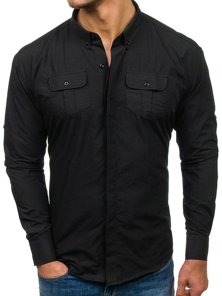 Чорна елегантна чоловіча сорочка з довгим рукавом Bolf 0780 ЧОРНИЙ c872e8cef0907