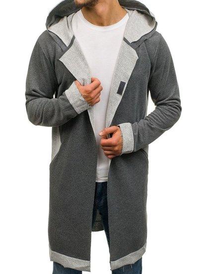 Длинная мужская толстовка с капюшоном графитовая Bolf NRT536