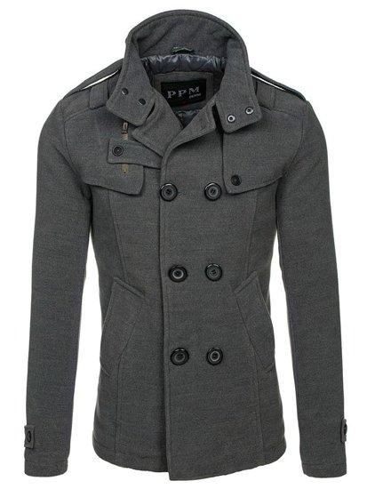 Мужское  пальто серое Bolf 8857