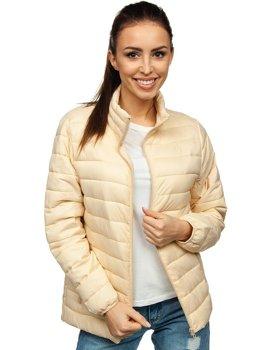 Бежевая женская стеганая демисезонная куртка Bolf 20311