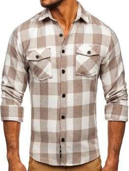 Бежевая мужская фланелевая рубашка с длинным рукавом Bolf 20723