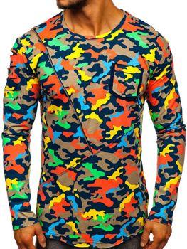 Бежевая мужская футболка с длинным рукавом с принтом камуфляж Bolf 1090
