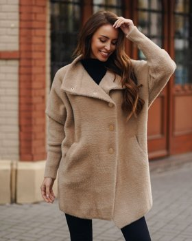 Бежевое женское пальто Bolf 7118-1