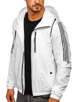 Белая демисезонная мужская спортивная куртка с капюшоном Bolf 6172