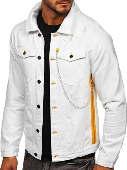 Белая джинсовая мужская куртка Bolf 3-4