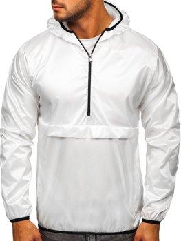 Белая мужская демисезонная спортивная куртка с капюшоном BOLF 5061