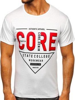 Белая мужская футболка с принтом Bolf KS2098