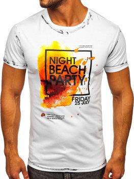Белая мужская футболка с принтом Bolf S024