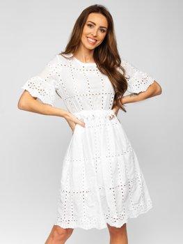 Белое платье женское хлопковое в стиле бохо Bolf 2185
