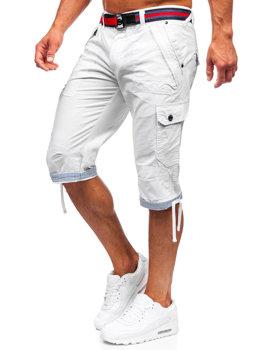 Бело-темно-синие мужские шорты-карго с поясом Bolf S001BB