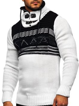 Белый мужской свитер толстой вязки с воротником-стойкой Bolf 2020