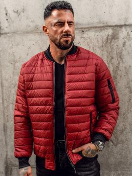 Бордовая демисезонная мужская куртка-бомбер  Bolf MY-02