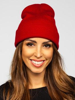 Бордовая женская зимняя шапка YW09004
