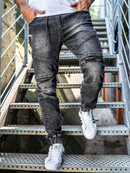 Брюки  джоггеры джинсовые мужские черные Bolf KA509