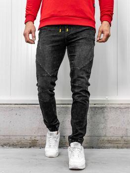 Брюки мужские джинсы джоггеры черные Bolf HY621