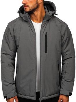 Графитовая мужская зимняя спортивная лыжная куртка Bolf HH011