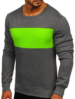 Графитово-зеленая мужская толстовка без капюшона Bolf 2021