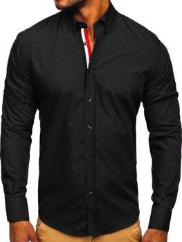 Елегантна чоловіча сорочка з довгим рукавом чорна Bolf 3713