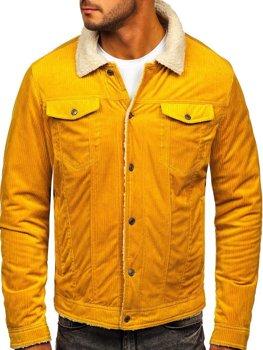 Желтая стеганая вельветовая куртка Bolf 1179