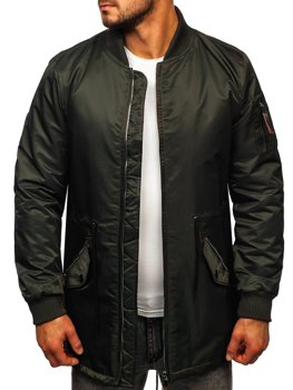 Зеленая мужская демисезоння куртка парка Bolf JK363