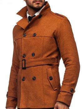 Коричневое двубортное пальто с поясом мужское зимнее пальто с высоким воротником Bolf 0009