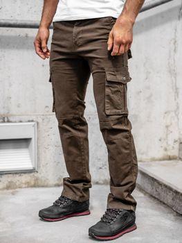 Коричневые мужские брюки-карго с поясом Bolf 8813