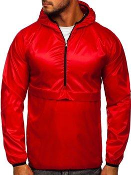 Красная мужская демисезонная спортивная куртка с капюшоном BOLF 5061