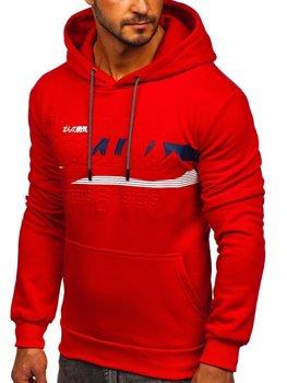 Красная мужская толстовка с капюшоном и принтом Bolf KS2136