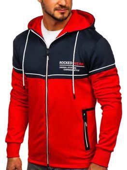 Красная мужская толстовка с принтом и капюшоном Bolf DD20122