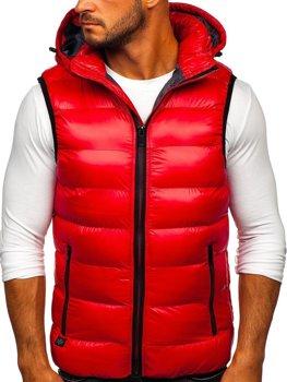Красный стеганый мужской жилет с капюшоном Bolf 6506