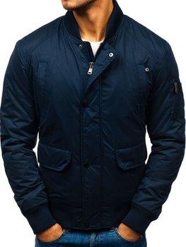 Куртка мужская демисезонная бомбер темно-синяя Bolf 1769