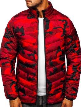 Куртка мужская демисезонная спортивная стеганая камуфляж-красная Bolf SM32
