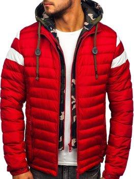 Куртка мужская демисезонная спортивная стеганая красная Bolf 50A462