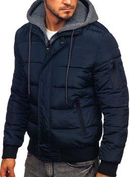 Куртка мужская демисезонная спортивная стеганая темно-синяя Bolf JK386