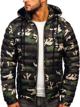 Куртка мужская зимняя спортивная стеганая зеленая Bolf 50A469
