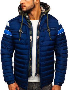 Куртка мужская зимняя спортивная стеганая темно-синяя Bolf 50A465