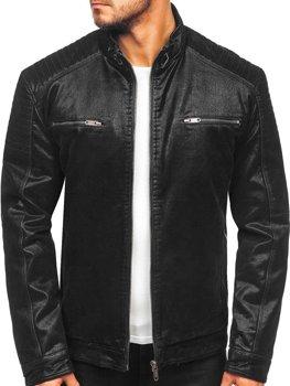 Куртка мужская кожаная черная Bolf EX927