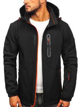 Куртка мужская софтшелл черно-оранжевая Bolf 12263
