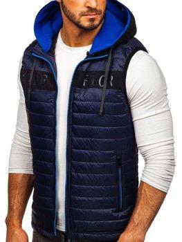 Мужская безрукавка с капюшоном темно-синяя Bolf 6101