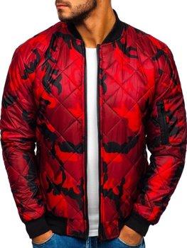 Мужская демисезонная куртка бомбер камуфляж-красная Bolf MY01