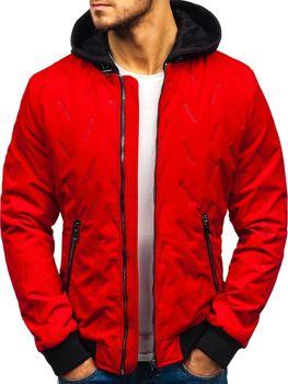 Мужская демисезонная куртка бомбер красная Bolf 5621