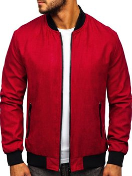 Мужская демисезонная куртка бомбер красная Bolf 6118