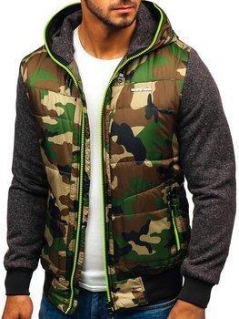 Мужская демисезонная куртка камуфляж-салатовая Bolf 3755