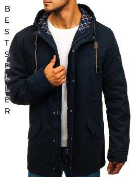 Мужская демисезонная куртка парка темно-синяя Bolf 1818