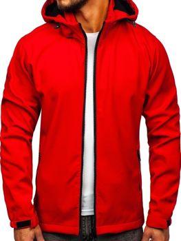 Мужская демисезонная куртка софтшелл красная Bolf 56008