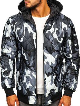 Мужская демисезонная спортивная куртка камуфляж-серая Bolf MY21M