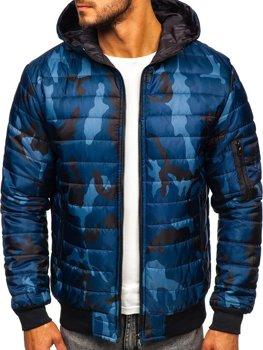 Мужская демисезонная спортивная куртка камуфляж-темно-синяя Bolf MY13M-A