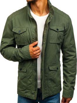 Мужская демисезонная элегантная куртка зеленая Bolf 1817